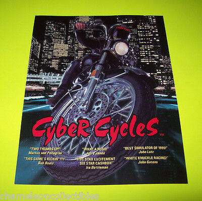 CYBER CYCLES By NAMCO 1995 ORIGINAL NOS VIDEO ARCADE GAME SALES FLYER BROCHURE