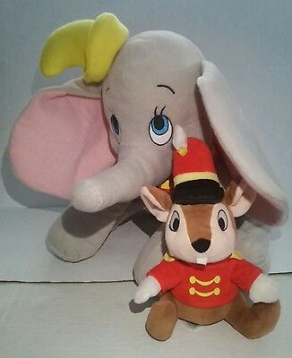 "Disneyland Set of 2 13"" Dumbo 8"" Timothy Plush Elephant Mouse Parks Gray Rat"