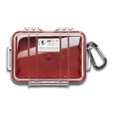 Pelican 1020 Watertight Protective Micro Case, Rubber Liner - Red/Clear