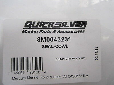 New Mercury Mercruiser Quicksilver Oem Part # 8M0043231 Seal-Cowl