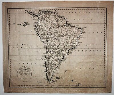 1796 South America engraving by B. Tamer, antique, authentic, original