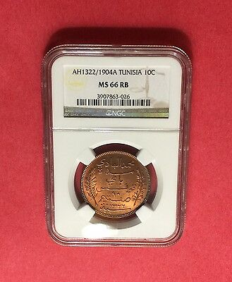 TUNISIA -OUTSTANDING UNC AH1322/1904-A ,10 CENTIMES- NGC -MS 66 RB.rare grading.