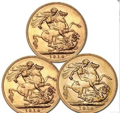 5pcs/lot free shipping 1914 British Sovereign George UNC -24 gold Sovereign coin