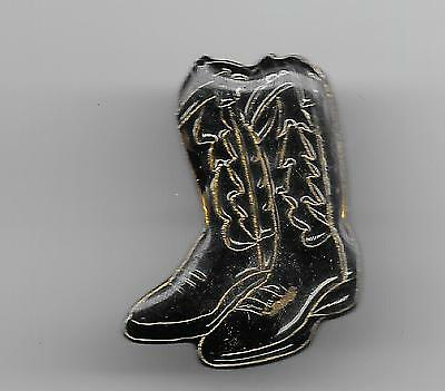 Vintage Pair Black with gold details Cowboy Boots old enamel pin
