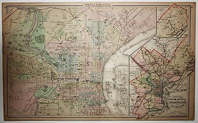 1886 Map of Philadelphia. By O.W. Gray & Sons. antique, authentic, original.