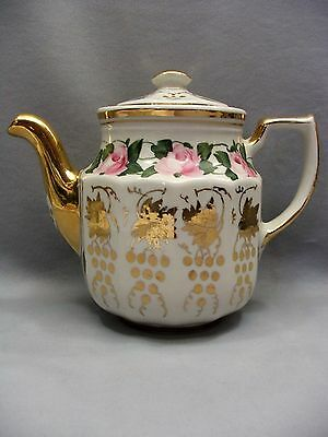 Shenango China hand painted pink roses gold gilt 1940s porcelain coffee tea pot