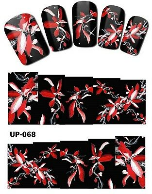Full Wrap Nail Art Stickers Decals Transfers Red Flowers (UP-068)