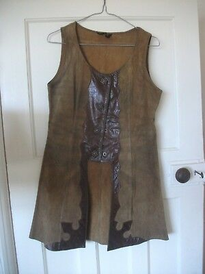 Ladies Small Retro Brown  Leather/ Suede waistcoat