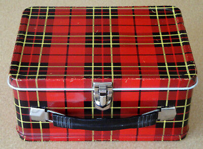Vintage 1964 King Seeley Thermos Brand Plaid Red and Black Lunchbox +Thermos