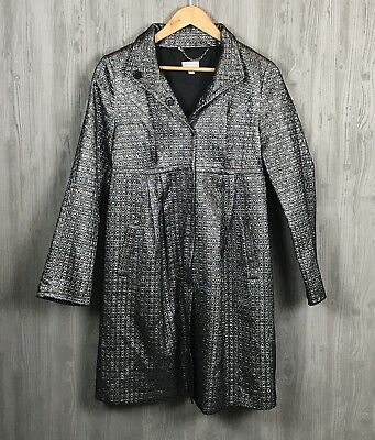 A Pea in the Pod S Dressy Long Coat Silver Metallic Snap Front Jacquard Jacket