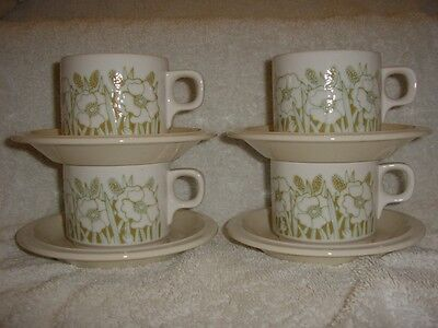 4 X Lovely Hornsea Fleur Cups And Saucers