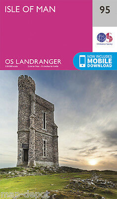 ISLE OF MAN LANDRANGER MAP 95 - Ordnance Survey - OS - NEW 2016 + DOWNLOAD