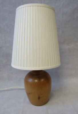Vintage Solid Teak Hand Turned Wooden Lamp Base by Dennis French Rewired FWO