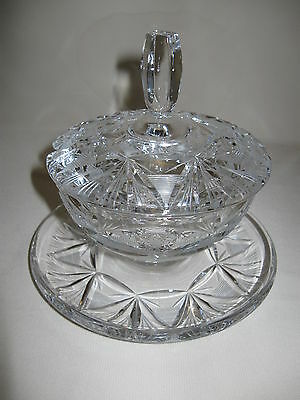 Crystal Clear Glass Candy Nut Gravy Bowl Lid Under Plate Attach Leaf Pin Wheel