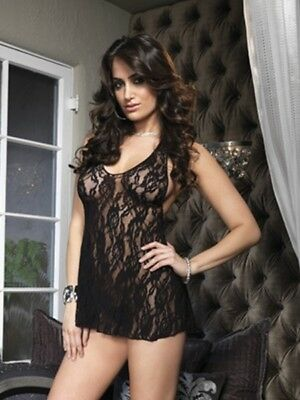 Rose Black Babydoll. Lingerie Sexy, Intimo Sexy