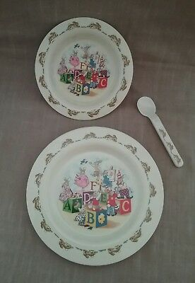 Bunnykins Royal Doulton 2002 melamine plate, bowl & spoon set NWOT
