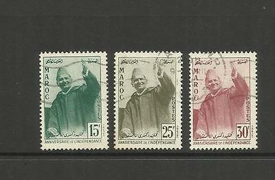 MOROCCO ~ 1957 INDEPENDENCE 1st ANNIVERSARY (USED SET)