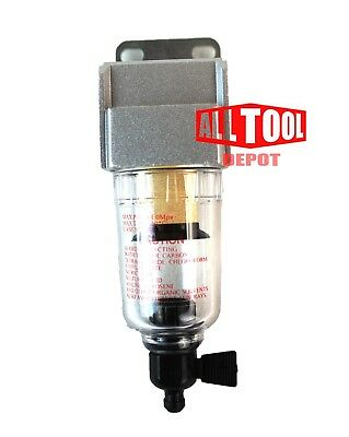"""1/4"""" Mini FLOW COMPRESSED AIR IN-LINE PARTICULATE FILTER WATER TRAP SEPARATOR"""