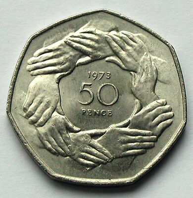 1973 UK (British) Pre-Brexit Coin - 50 Pence - European Union Entry locked hands