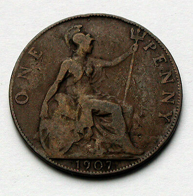 1907 UK (Great Britain) Edward VII Coin - ONE PENNY (1d)