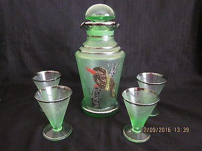 ~VINTAGE FROSTED GREEN GLASS BARWARE DECANTER with KOOKABURRA & 4 GLASSES - VGC~