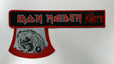 """LARGE IRON MAIDEN KILLERS AXE WOVEN PATCH - 7.9"""" - NWOBHM Eddie"""