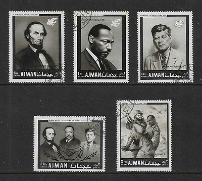AJMAN 1968 Human Rights Year, Lincoln, John F Kennedy, Martin Luther King, CTO