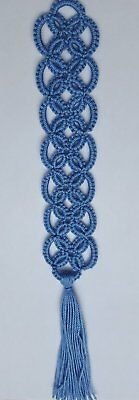 New Handmade Tatted lace Bookmark- Light Blue
