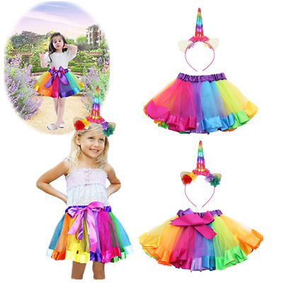 Girls Princess Tutu Skirt Unicorn Hairband Fluffy Rainbow Dance Pettiskirt Dress