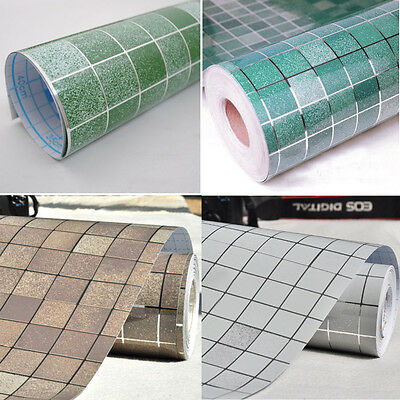 Self-adhesive Mosaic Wall Paper Sticker Tile Contact Paper Bathroom Waterproof