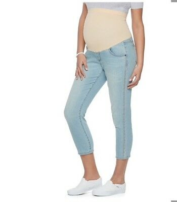 A:Glow Maternity Crop Skinny Jean Capris Size 14 NWT Embroidered Kohl's