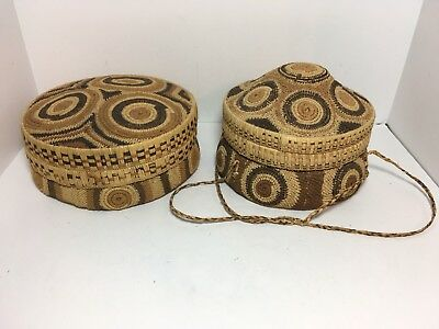 """2 VINTAGE Woven Coiled Bowl Lidded Baskets 8"""" & 7"""" Handcrafted 2 Bowls"""