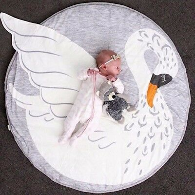 Kids Cotton Round Soft Play Game Mat Rug Swan Carpet Baby Crawling Blanket Photo
