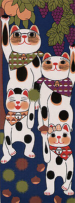 Japanese traditional towel TENUGUI Maneki neko HAPPY CAT FROG