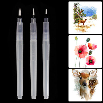 3pcs Water Brush Pen Set Assorted Tips for Watercolor Calligraphy Drawing AC1139