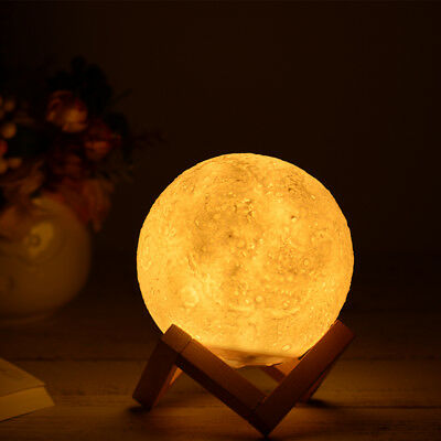 3D Magical LED Luna Moon Lamp Desk Light USB Charging Gift Touch 3-Color Switch