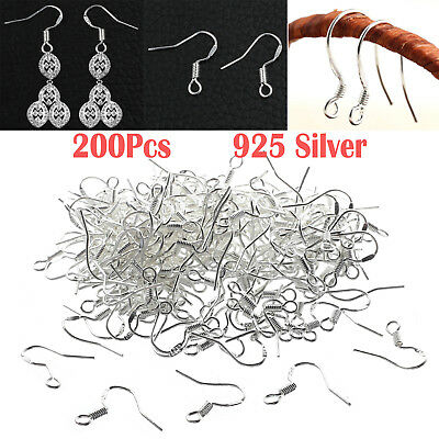 925 Sterling Silver Earring Hooks Wire 200pcs Hypoallergenic Ear Wire DIY AU