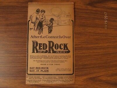 RED ROCK GINGER ALE ad advert. c.1911 on reverse illustration of women NEWSPAPER