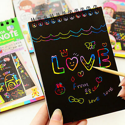 Kids Rainbow Scratch Art Kit Magic Drawing Painting Paper Notebook Children Gift