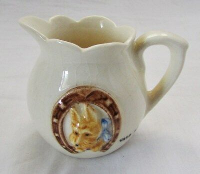 Australian Pottery Rose Noble Miniature Jug Dog In Horseshoe Yass NSW