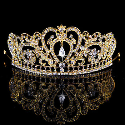 Gold Bridal Crown Tiara Crystal Rhinestone Wedding Prom Pageant Crowns Headband