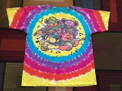 GRATEFUL DEAD Vintage 90s Tie Dye Shirt Liquid Blue Bear GDP Big River Jamboree