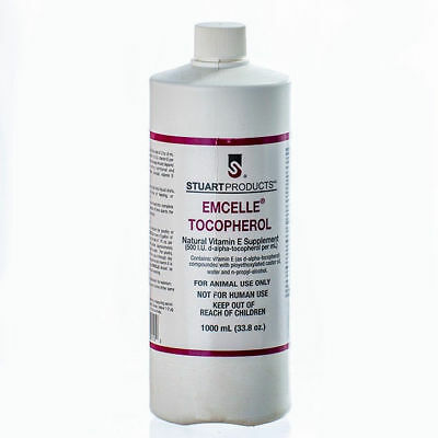 EMCELLE Tocopherol Liquid Solution Vitamin E Poultry Swine 1000 ml