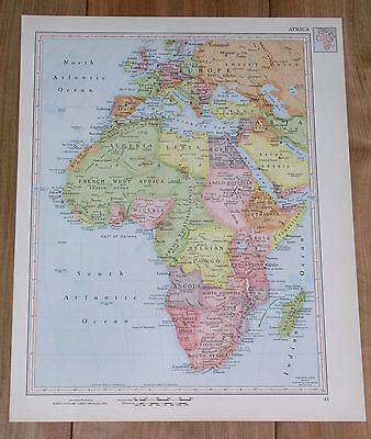 1951 Original Vintage Map Of Africa French British Colonies / Western Africa