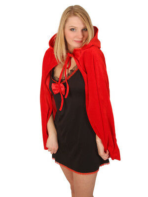 Short Red Velour Hooded Cape Riding Hood - Xmas