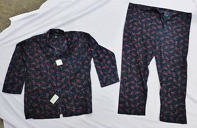 Vintage Mens Christian Dior Print Pajamas 100% Cotton PJs Sleepwear Size XL NWT
