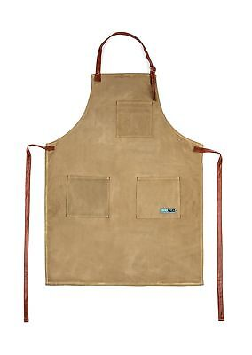 Utility Waxed Canvas Apron Durable with PU Leather Strap and Reinforced Stitc...