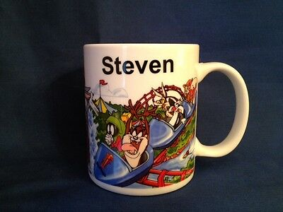 "LOONEY TUNES ""STEVEN"" NAME MUG, SIX FLAGS CUP, WARNER BROS. 10 oz."