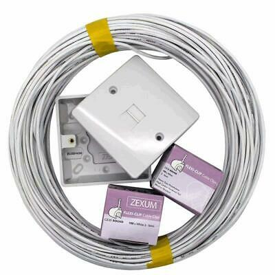 BT Telephone Master Socket/Box Line Extend Extension Cable Kit, 10m 25m 50m Lead