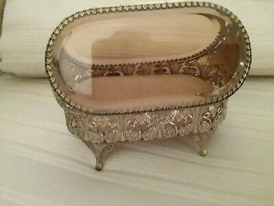 Vintage Gold Metal Jewelry Casket